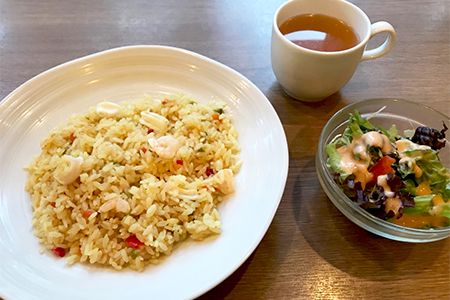 Pilaf (with salad, soup)